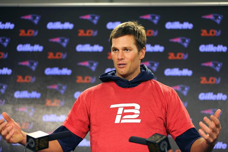 Tom Brady spoke to the media before practice earlier this month.
